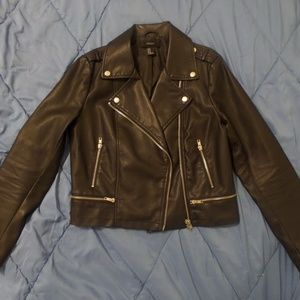 Forever 21 faux leather biker jacket size M